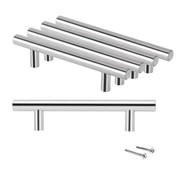 JJOnlineStore - 20x, barra de manija de cajón de acero inoxidable, gabinete de cocina T barra de manija, 20 (longitud) x1 (diámetro) x12 cm