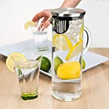 Elegant Chill Water Pitcher with lid – Stunning Scandinavian Design – Premier Quality Borosilicate Glass Pitcher – Stainless Steel Lid – 1300ml/44oz