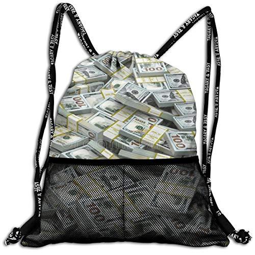 Men & Women Premium Polyester Drawstring Sack American Dollar Sign Shoulder Bags Theft Proof Lightweight For Swim Soccer Baseball Bag Large Size For Camping, Hiking ()