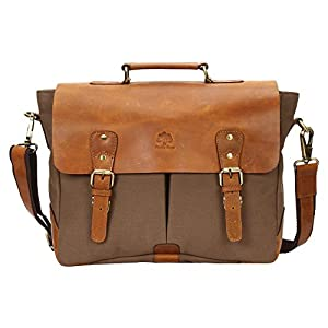Rustic Town Handmade Leather Canvas Vintage Crossbody Messenger Bag Gift Men Women Travel Work ~ Carry Laptop Computer Books ~ Everyday Office College School Satchel 15 inch