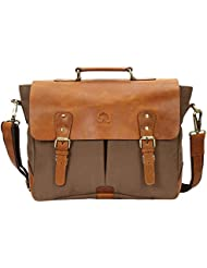 15 Inch Rustic Town Handmade Leather Canvas Vintage Crossbody Messenger Bag Gift Men Women Travel Work ~ Carry...