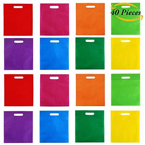 Hot Aneco 40 Pieces 10 by 12 Inches Poly Non-woven Bags Party Gift Tote Bag with Handles Goodie Rainbow Colors Treat Bag For Party Favors8 Colors