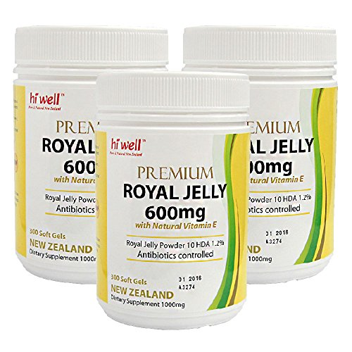 Hi Well Premium New Zealand Bee Royal Jelly 600mg with Natural Vitamin E 300 Soft Gels Immune Support Vitamins & Minerals (Pack of 3) by Hi Well