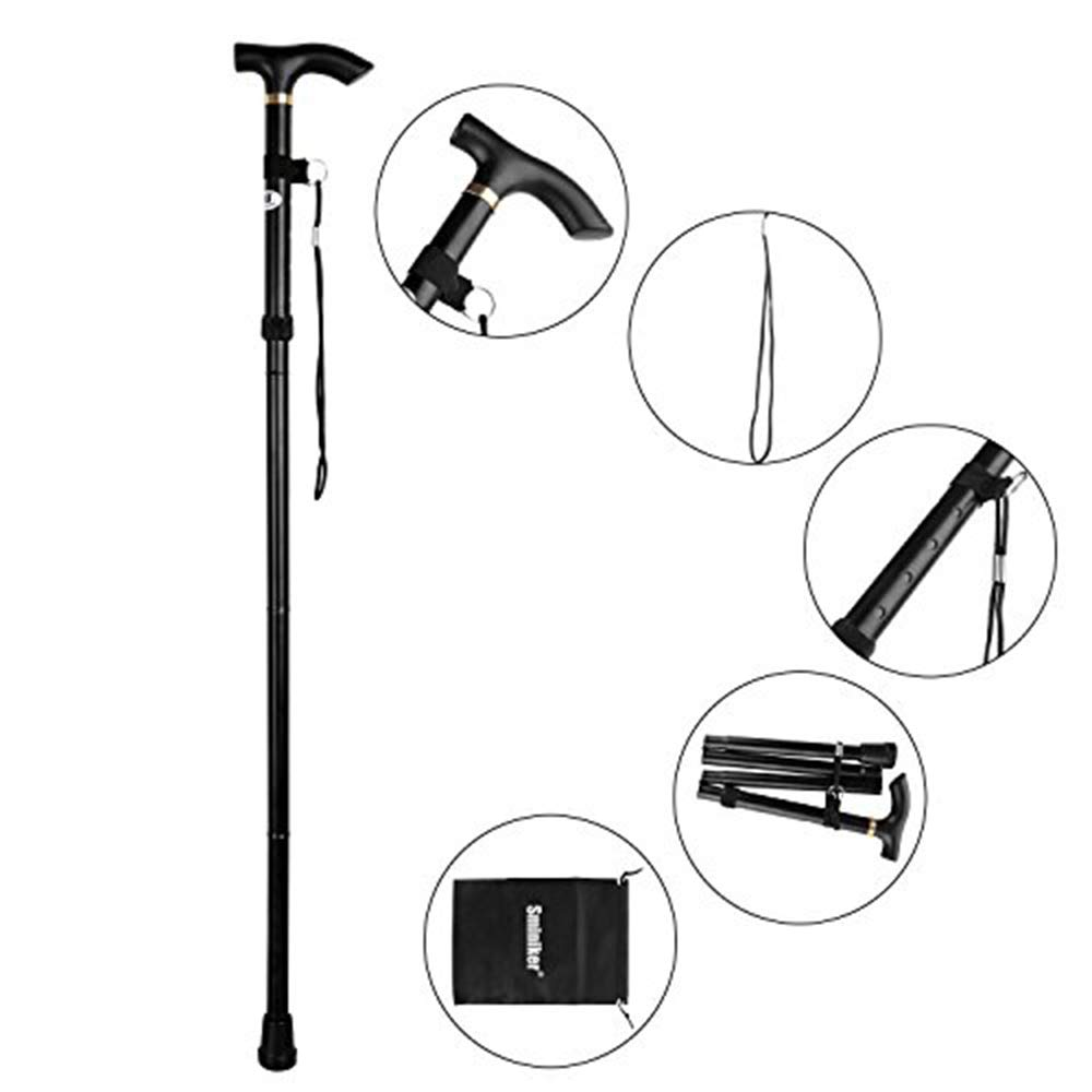 Sminiker Professional Folding Walking Canes with Carrying Bag Lightweight Adjustable Canes and Walking Sticks for Men and Women with Wrist Strap Aluminum Alloy Shaft (Black)