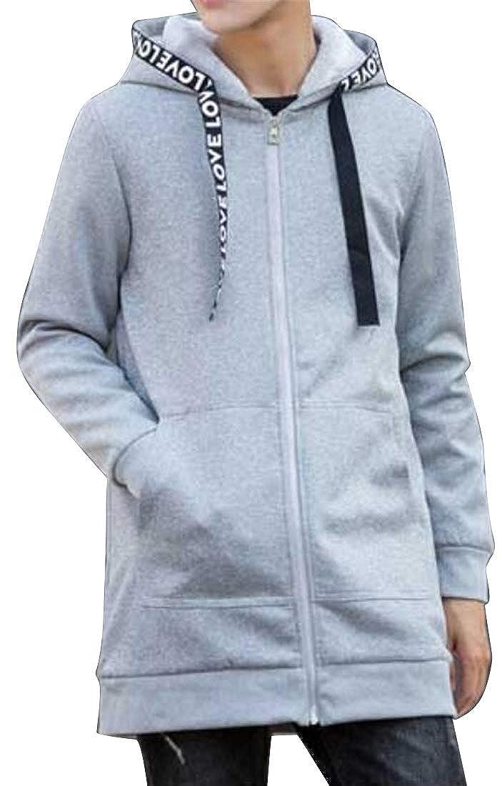 DFBB Men Longline Warm Thicken with Velvet Drawstring Zip Front Cotton Winter Hoodies Sweatshirt