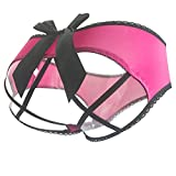 CinGr8 Sexy Crotchless Cage Open Back Panty with Big Satin Bow (One Size, Rose)