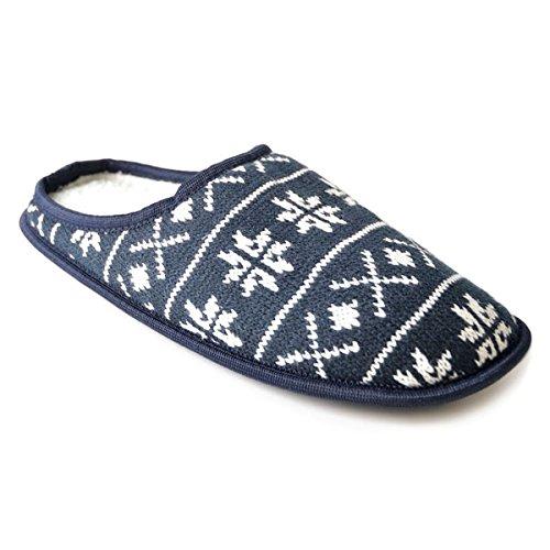 SlumberzzZ Men's Fairisle Snowflake Knitted Mule Slippers, Navy, Size UK 8/9