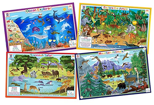 (Tot Talk Animals Nature- Educational Kids Placemats- Set of 4 Table Mats: Ocean, Jungle, Savanna, Mountain Animals- Reversible Activities Coloring- Waterproof, Washable, Wipeable, Durable, USA-Made)