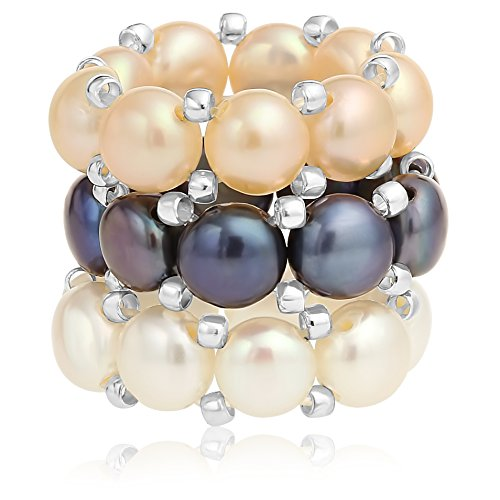 Unique Royal Jewelry Stretch Ring Cultured Pearl Multi Color White, Peacock and Peach with Silver-Tone Beads Set of 3