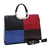 Womens Fine Embossed Leather-like Briefcase/Laptop Bag, Multi-Color Black/Red/Blue/Brown Croco, Bags Central