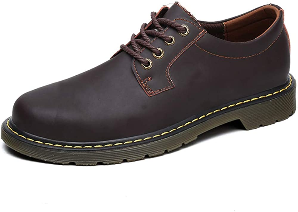 Shufang-shoes Mens Business Oxford Casual Leather Work Clothes Round Head Thick Bottom Formal Shoes