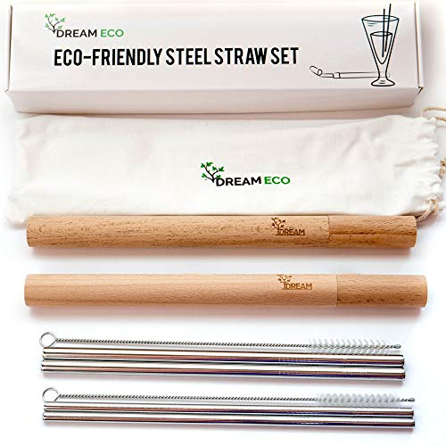 - Reusable Stainless Steel Straw Set - 4 Metal Straws with Carrying Case - 2 Handcrafted Wooden Bamboo Cases - Eco Friendly Drinking Wide and Slim - Environmental Sustainable Straws Stocking Stuffer