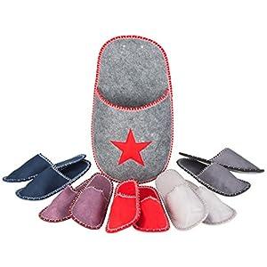 Levivo Set di pantofole per gli ospiti, 11 pz: 5 paia di pantofole per gli ospiti in feltro, 1 tasca-pantofola grande… 1 spesavip
