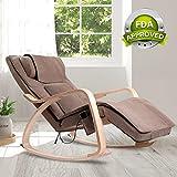 OWAYS Massage Chair 3D Full Back Massager, Rocking Design, Adjustable Pillow, Vibrating Function, 6 Massage Modes, Wooden Handrail, Linen Cover with Zipper