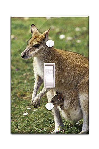 Kangaroo and Baby (Light Switchplate Cover)