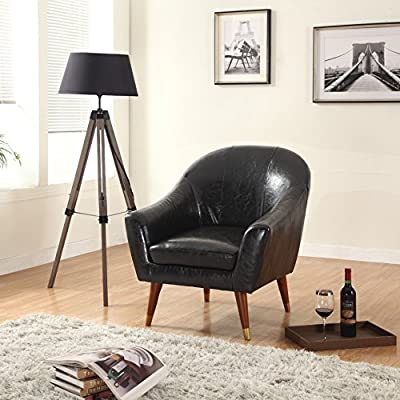 Divano Roma Furniture Signature Collection Mid Century Modern Bonded Leather Living Room Accent Chair