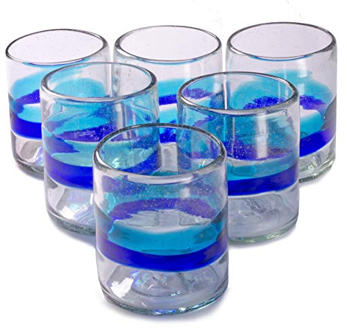 Orion Banded Turquoise/Cobalt 12 oz All Purpose - Set of 6