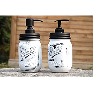 Black Mason Jar Soap Dispenser Hand Lotion Soap Pumps Industrial Farmhouse Decor- 2Pack 18/8 Stainless