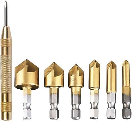16mm 12mm 8mm 19mm 9mm BUYGOO Fraises a Bois 7pcs Fraise Conique 90/° HSS Fraise /à Chanfreiner Carbure 6mm Punch au Centre Automatique