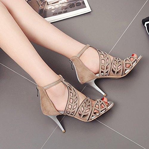 mit Blätter Out Sandale Aisun Cut Reißverschluss Strass Peeptoes Stiletto Khaki Damen pXwXq8fnZ