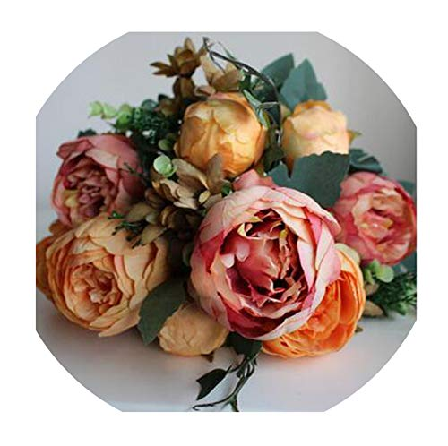 7-12 Heads/Bouquet Large Artificial Peony Artificial Flowers Roses Silk Flower for Wedding Home Decoration Mariage,Champagne 1