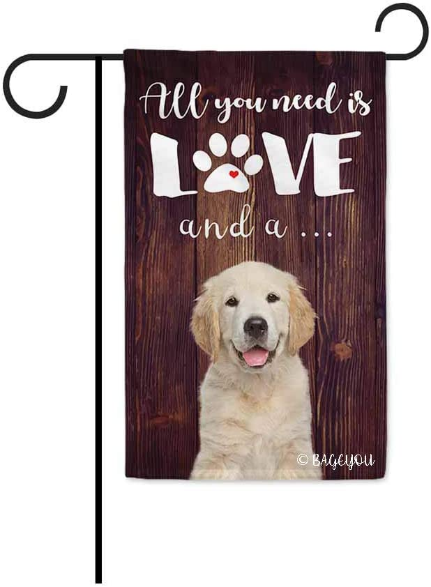 BAGEYOU All You Need is Love and a Dog Golden Retriever Decorative Garden Flag for Outside Cute Puppy Paws Wooden Background 12.5X18 Inch Printed Double Sided