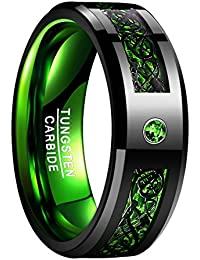 Green Tungsten Carbide Wedding Band Ring Celtic Dragon Green Carbon Fiber for Men 8mm Size 7 to 12