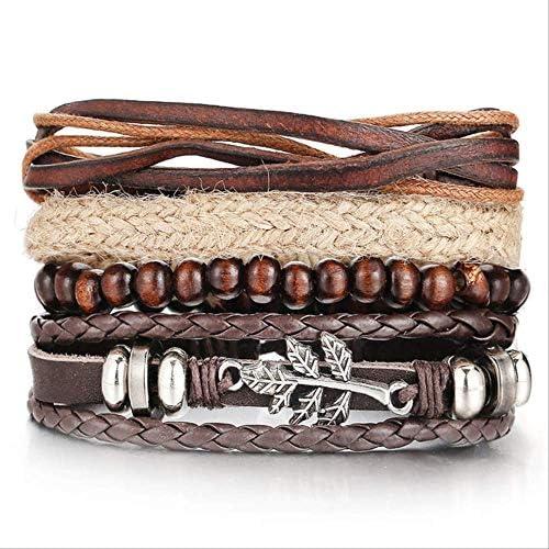NJSDDB Armband Vintage mehrlagig verstellbar Blatt Leder Armbänder für Herren Trendy Holz Perlen Seil Geflochten Armband Wickelschmuck Neu