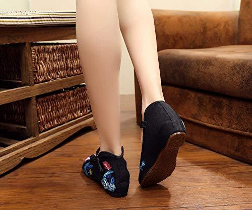 Etnico Stile Fuxitoggo Femminile Casual Nero Ricamate Comodo Moda Stoffa Scarpe Tendine 38 Di colore Suola A Dimensione Nell'aumento rnqYxgHqA