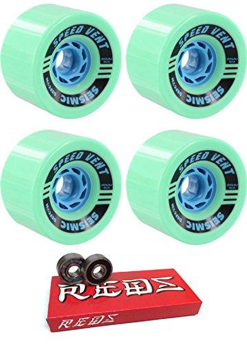 工業用瞳一般的な85 mm seismicスケートシステムSpeed Vent Defcon Longboard Skateboard Wheels with Bones Bearings – 8 mmスケートボードベアリングBones Super Redsスケート定格 – 2アイテムのバンドル