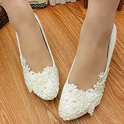 Wedding Shoes For Bride Low Heel Pearl Embellishment Hand Decal