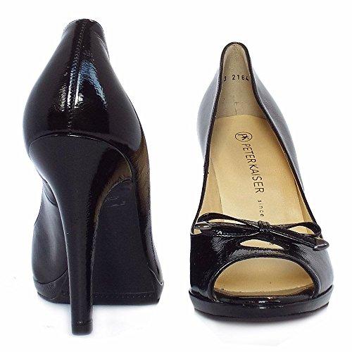 Peter Kaiser Cinua peep toe high heel shoes in black patent BLK CRACKL lr71FvK