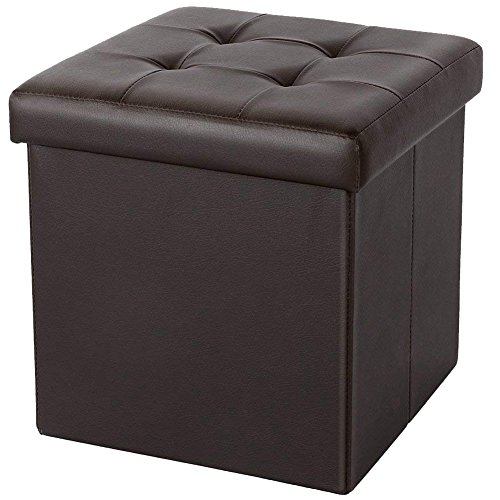 ShellKingdom Faux Leather Folding Shoe Storage Ottoman Cubes Bench, Foot Rest Stool Seat Table Pouf Footstools and Ottomans(15''X15''X15'' Cube Brown) (Leather Footstool Storage)