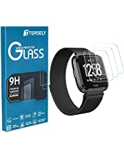 TERSELY Screen Protector for Fitbit Versa/Versa Lite, (3 Pack) Fitbit Versa 9H Hardness Tempered Glass Screen Protector Saver Film Guard for Fitbit Versa/Versa Lite Watch (3 Pack)