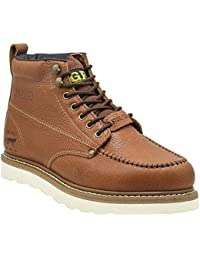 """Steel Toe Work Boots Men's 6"""" Moc Toe Wedge Comfortable Boots for Construction"""