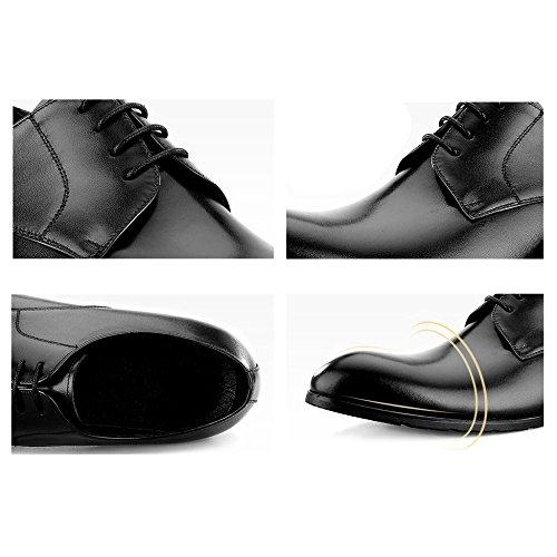 Cuir Chaussures Black Les D'affaires Chaussures Formelle Toe Pour Classique Parti Derby Travail Lace Véritable Cadeaux ups Pères MERRYHE Round Robe Mariages wRqxC4