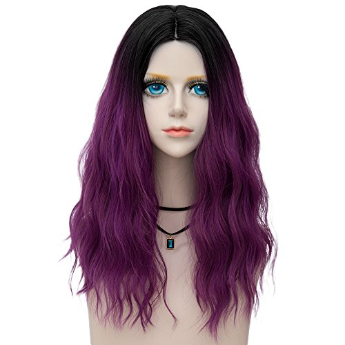 Probeauty Fairy Collection Ombre Dark Root 45CM Long Curly Women Lolita Anime Cosplay Wig +Cap (Purple F11)