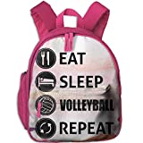Dream-R School Backpack Eat Sleep Volleyball Repeat Children Printed Oxford Fabric Backpack With Front Pockets Pink