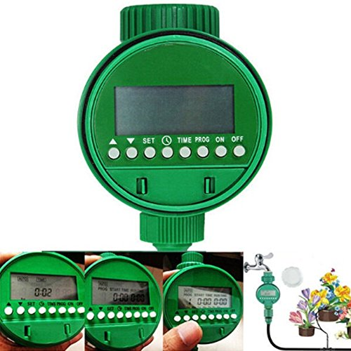 Garden Timer – Watering Plant Garden Automatic Irrigation System Sprinkler Timer Green Device – Drippers Lawn System Repair Parts Automatic Watering Pipe Irrigation Greenhouse Sinus Elbows Back