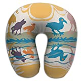 IEOQKE Birds Dance In River Bank Neck Pillow Creative U Type For Travel Camping Cervical Pillows With Resilient Material