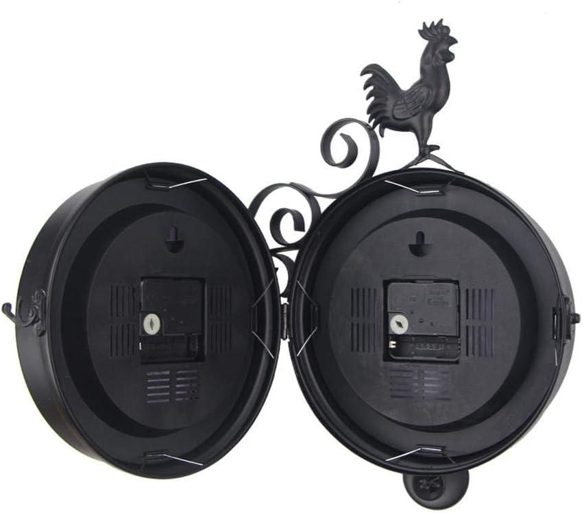 a forma di galletto effetto antico stile vintage Orologio da parete doppio lato per interni ed esterni giardino colore nero montaggio a parete stazione ferroviaria