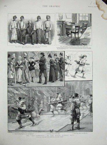 old-original-antique-victorian-print-1889-ice-carnival-royal-albert-hall-dacoit-myob-crime-115n725