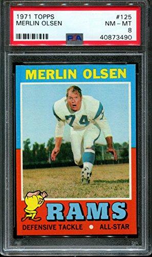 - 1971 TOPPS #125 MERLIN OLSEN RAMS HOF CENTERED PSA 8 F2588476-490