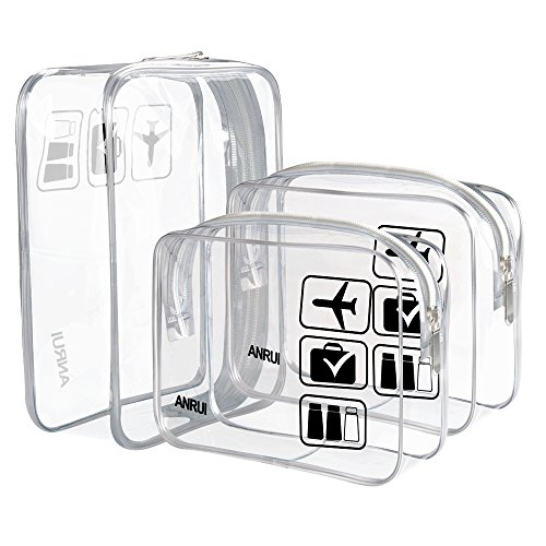 Price comparison product image (3 Pack) ANRUI TSA Approved Clear Toiletry Bag Travel Carry On Airport Airline Compliant Bag Quart Sized 3-1-1 Kit Travel Luggage Pouch (Clear)