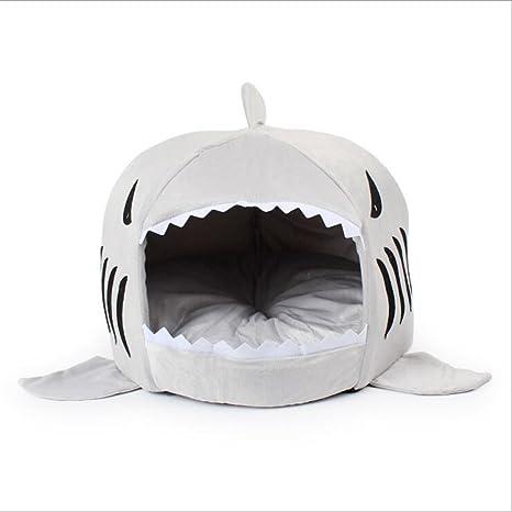 VLUNT Cama para mascotas, Tiburón Cama para gatos y perrito, Casa con suave y