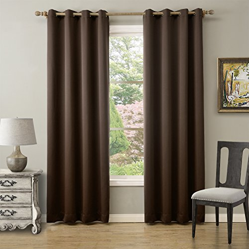 Best Home Collects Thermal Insulated Blackout Curtains – Antique Bronze Grommet Top – Chocolate – 52″W x 63″L – Not Tiebacks – (Set of 2 Panels)