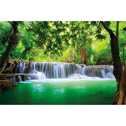GREAT ART Photo Wallpaper Forest Waterfall Decoration 132.3x93.7in / 336x238cm - Wallpaper 8 Pieces Includes Paste.