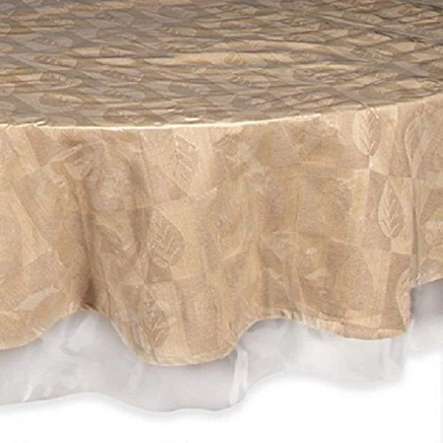 Hasnain's Prime Home Decor Waterproof Plastic Table Cover, Crystal Clear PVC Tablecloth Protector. (90-Inch Round, Brown Hemmed Border)