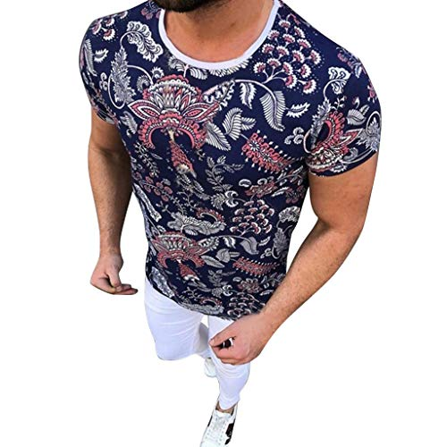 Mens Summer New Colorful Printed Short Sleeve Fashion Comfortable Shirt Tops Dark Blue]()