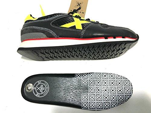 Munich - Zapatillas de Piel para hombre negro NERO-GIALLO FLUO